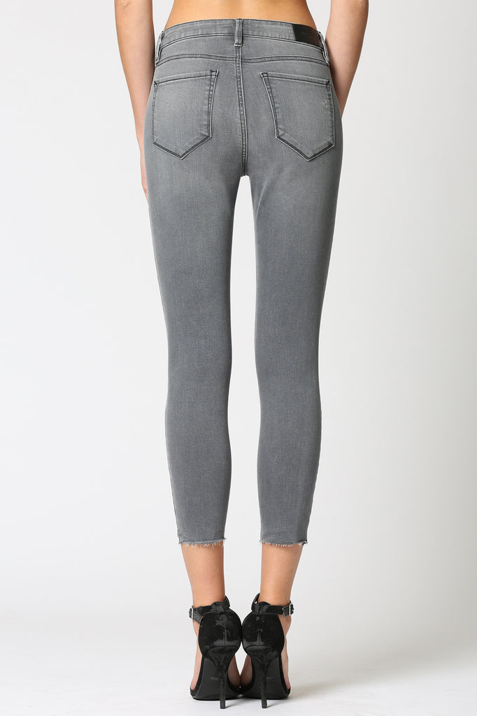 TAYLOR <p/> GREY KNEE DISTRESSED HIGH RISE SKINNY