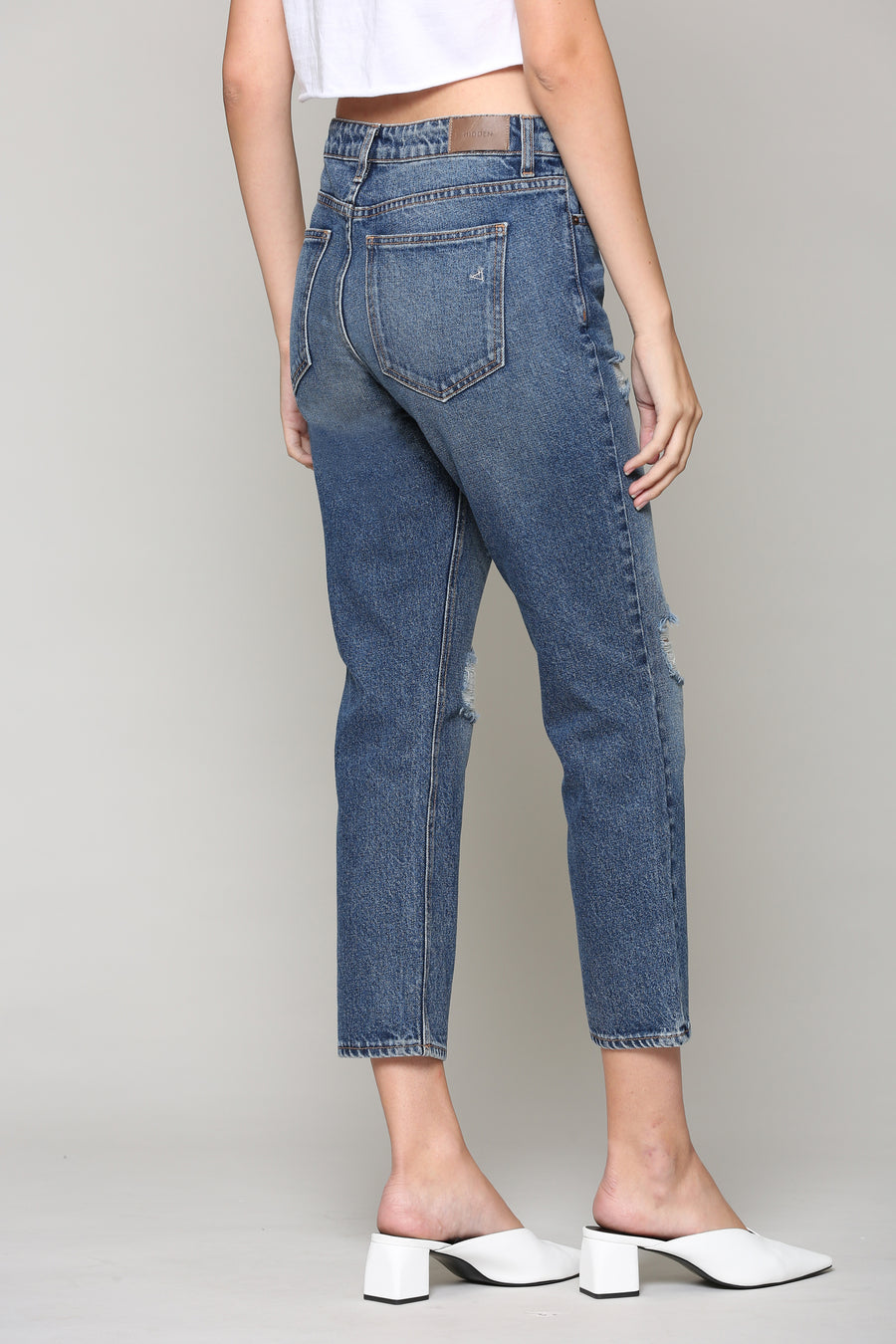 BAILEY<p/> DARK WASH DISTRESSED SLIM BOYFRIEND