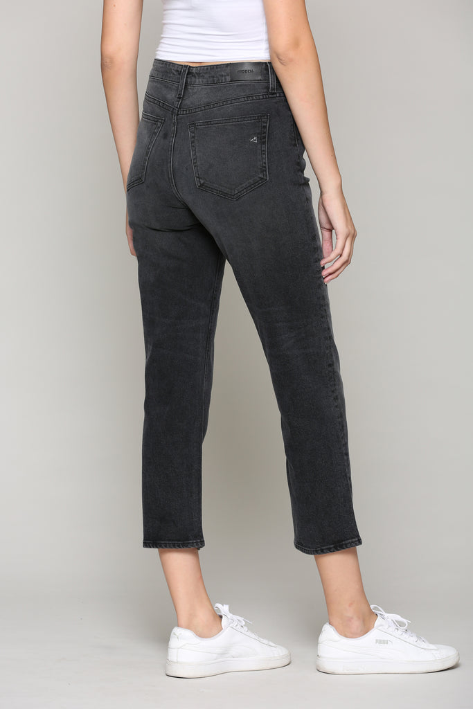 ZOEY <p/> BLACK WASH HIGH RISE SLIM MOM JEAN