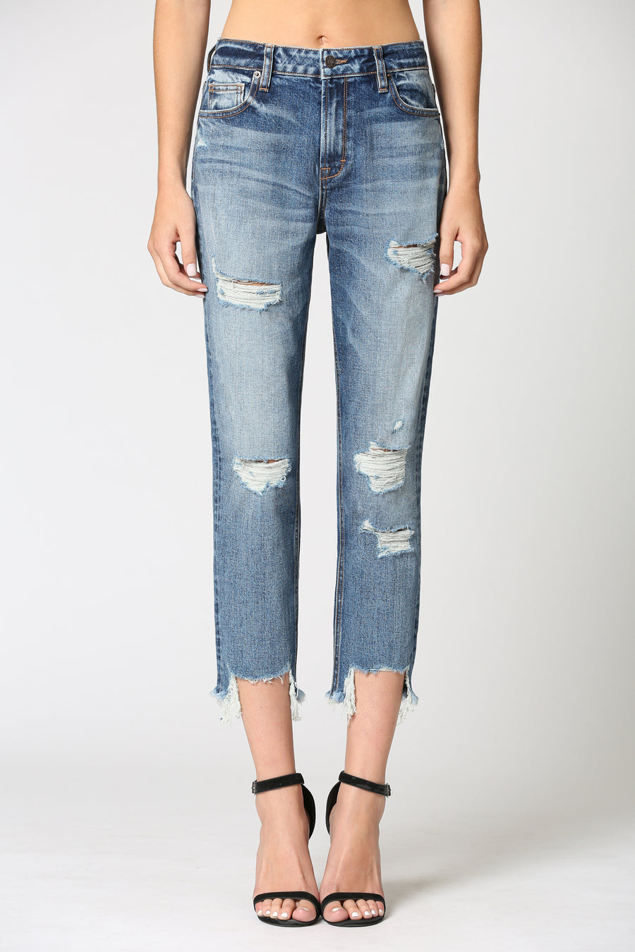 ZOEY <p/> DARK WASH DISTRESSED MOM JEAN