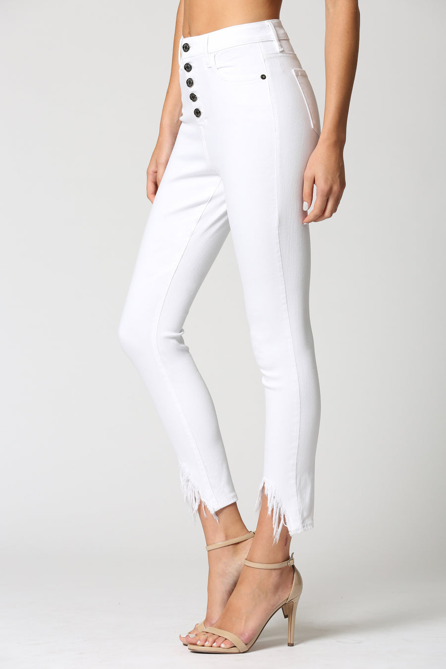 TAYLOR <p/> WHITE EXPOSED BUTTON WITH FRAYED HEM