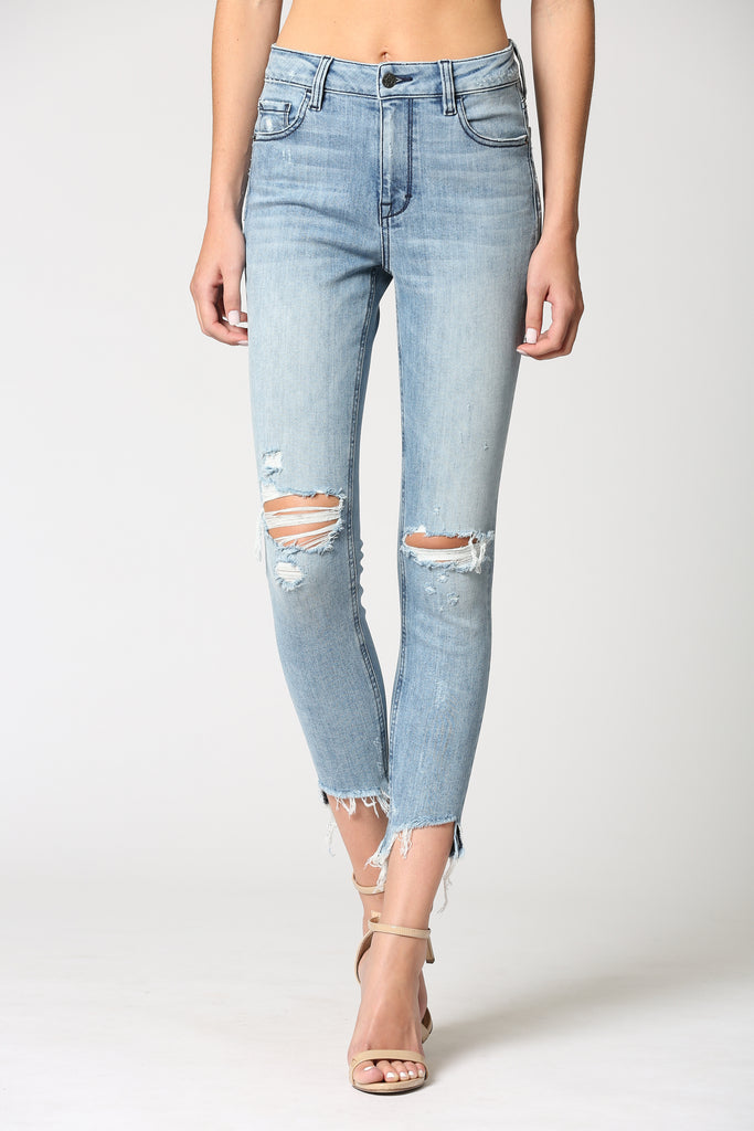 TAYLOR <p/> LIGHT WASH HIGH RISE DISTRESSED SKINNY