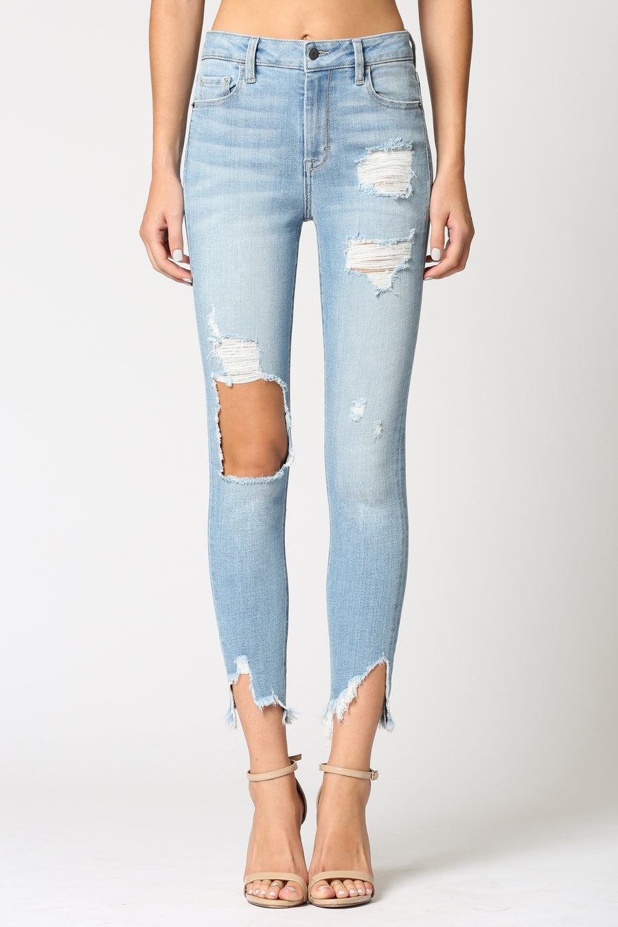TAYLOR <p/> LIGHT WASH DESTRUCTED HIGH RISE SKINNY