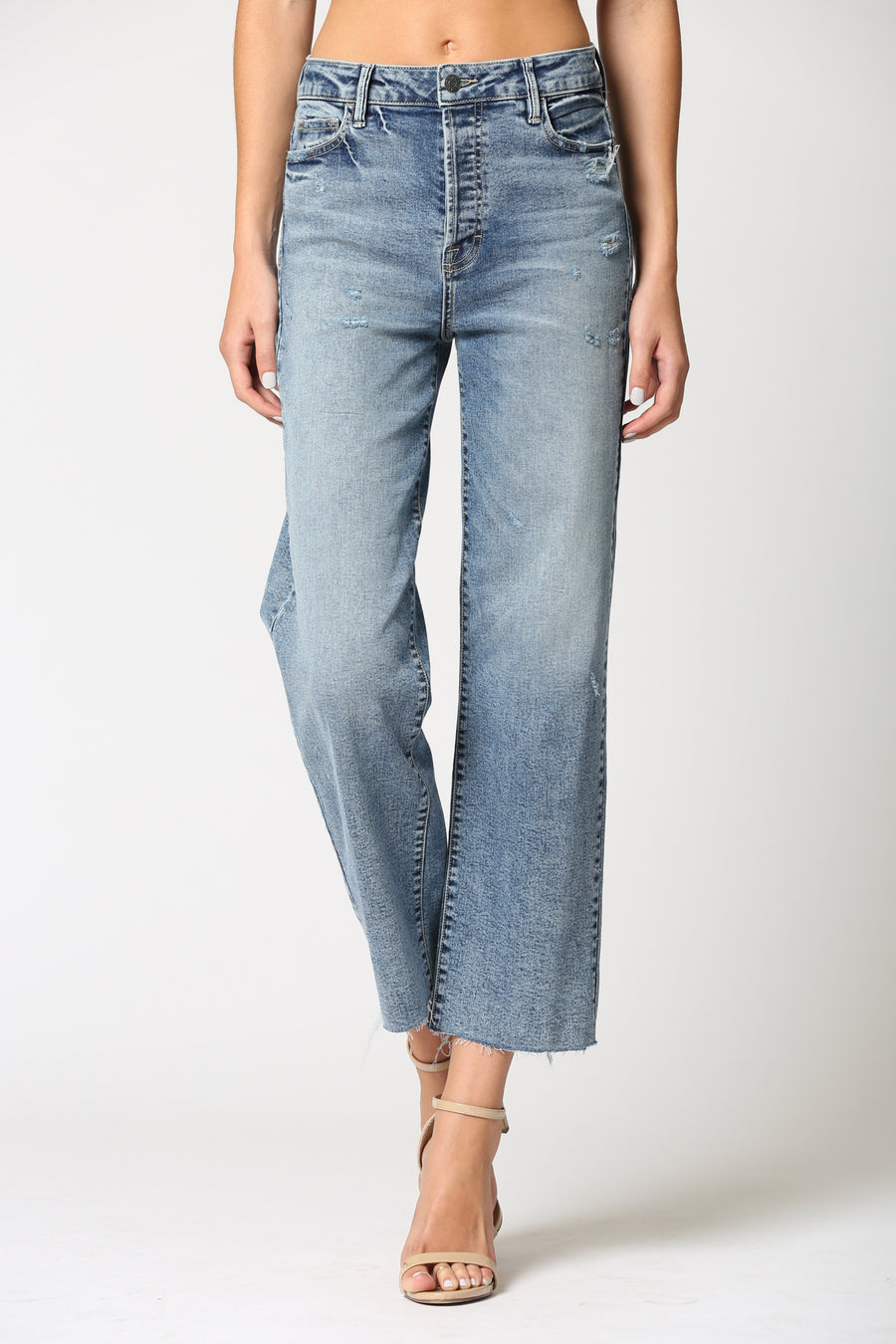 TRACEY <p/> MEDIUM WASH RAW HEM WITH STRETCH