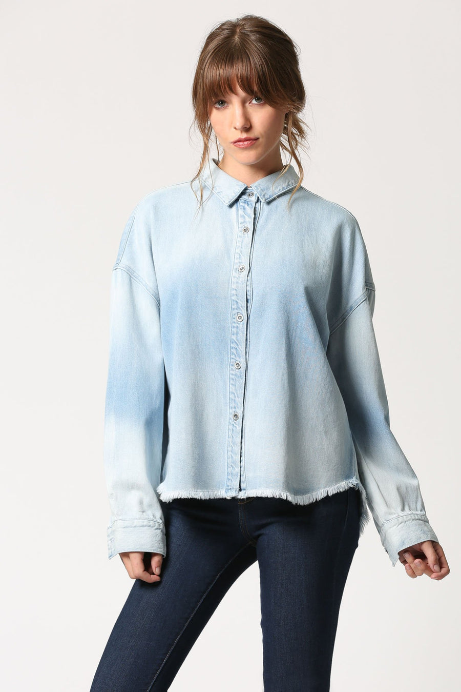 ABBEY <p/> Light Wash Button Up Ribbon Shirt