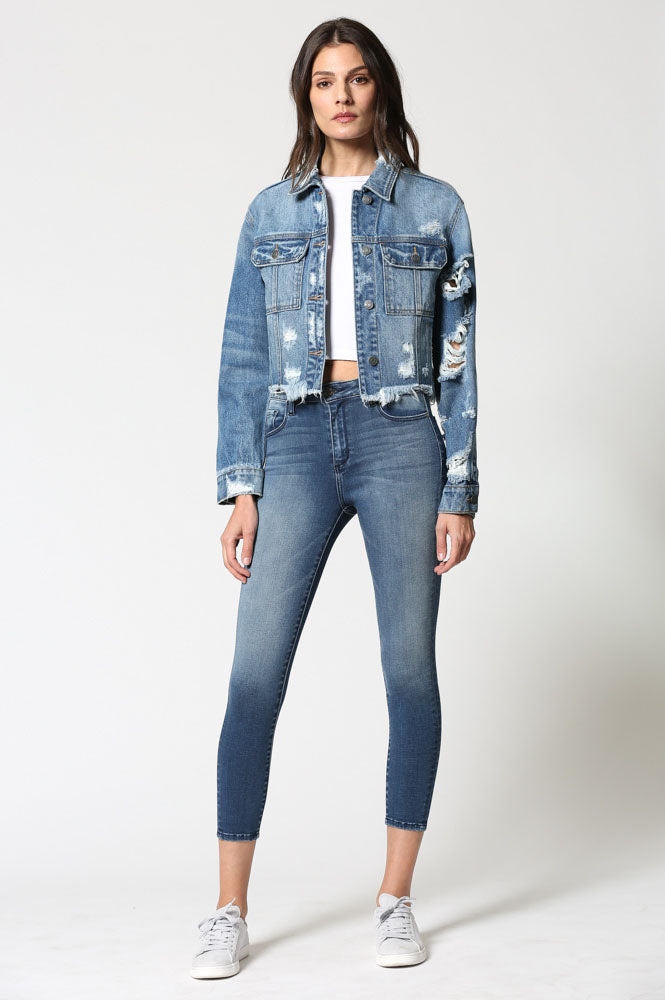 REBEL <p/> Medium Wash Distressed Cropped Jacket