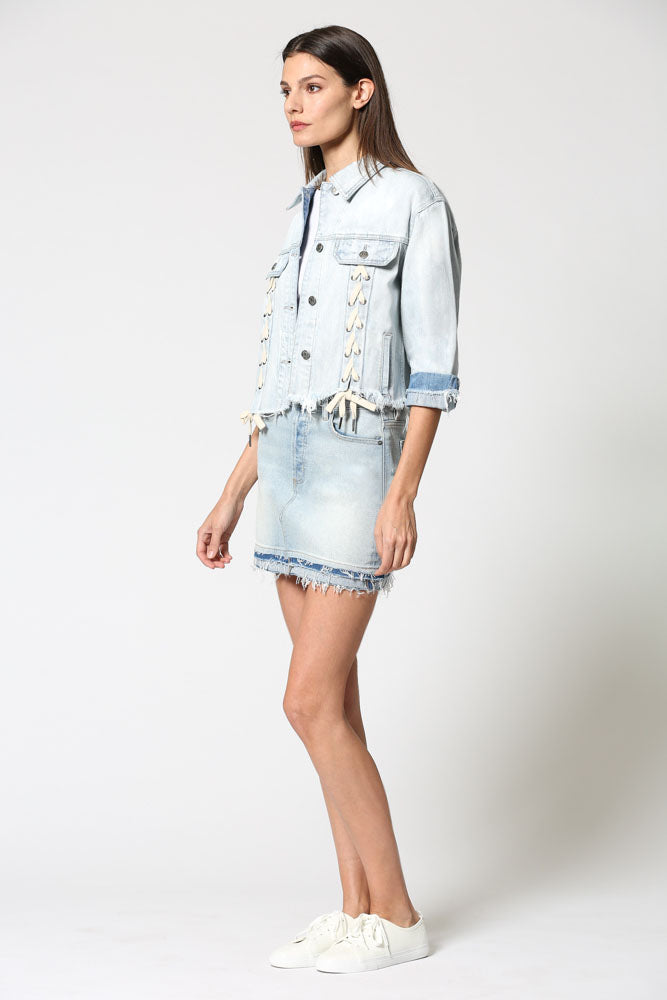 REBEL <p/> Light Wash Oversized Lace Up Jacket