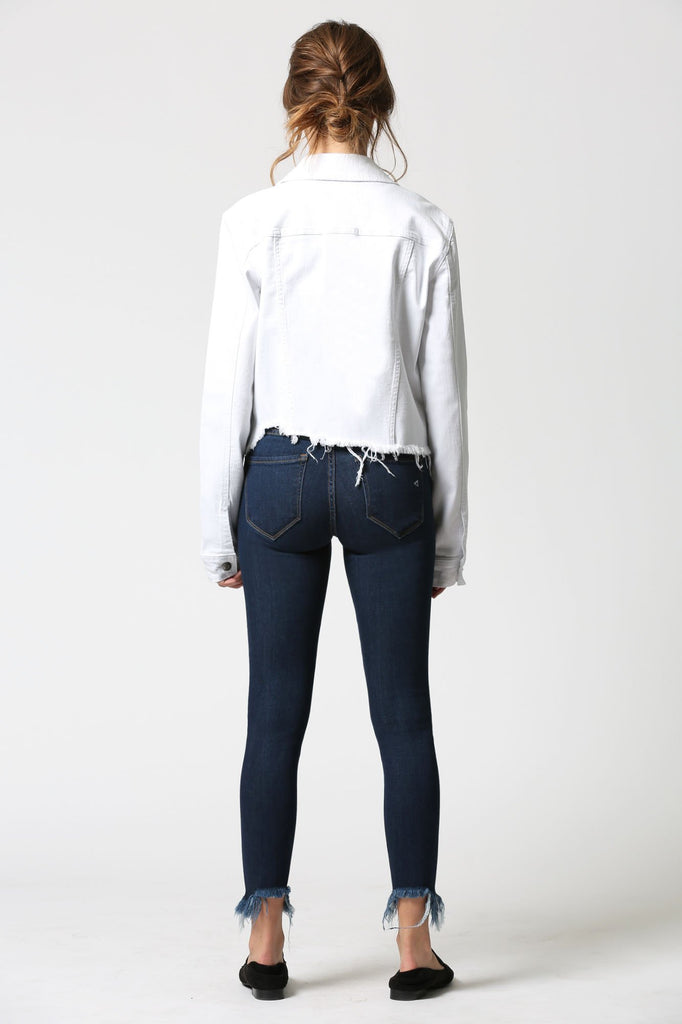 REBEL <p/> White Fitted Frayed Hem Jacket