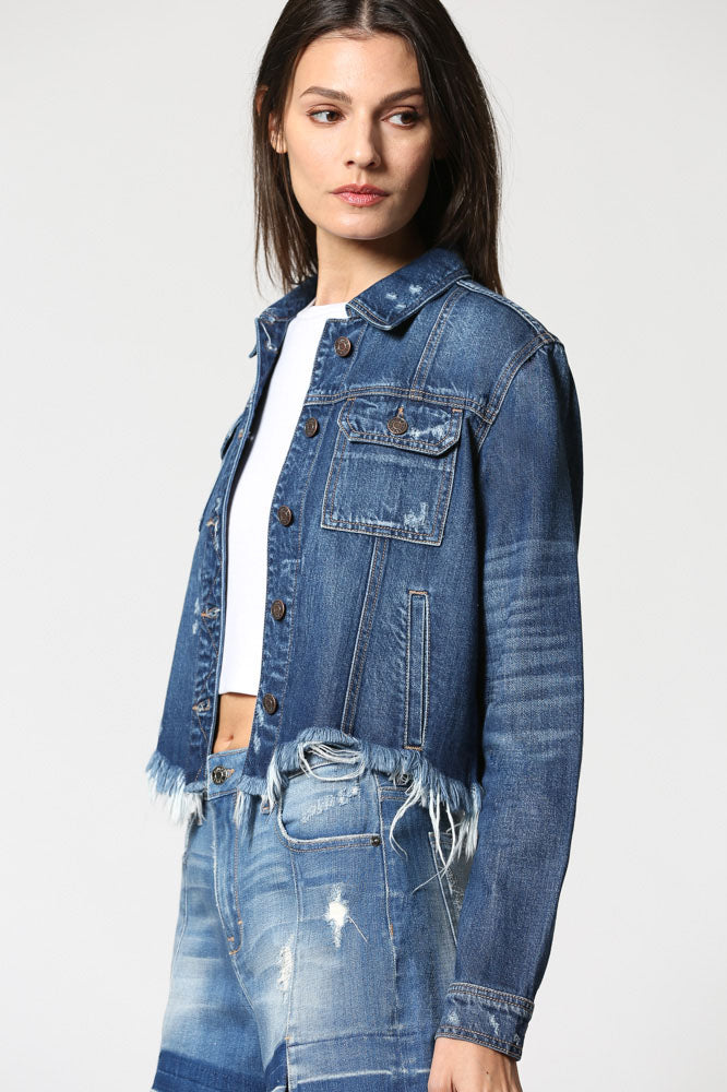REBEL <p/> Dark Wash Cropped Frayed Jacket