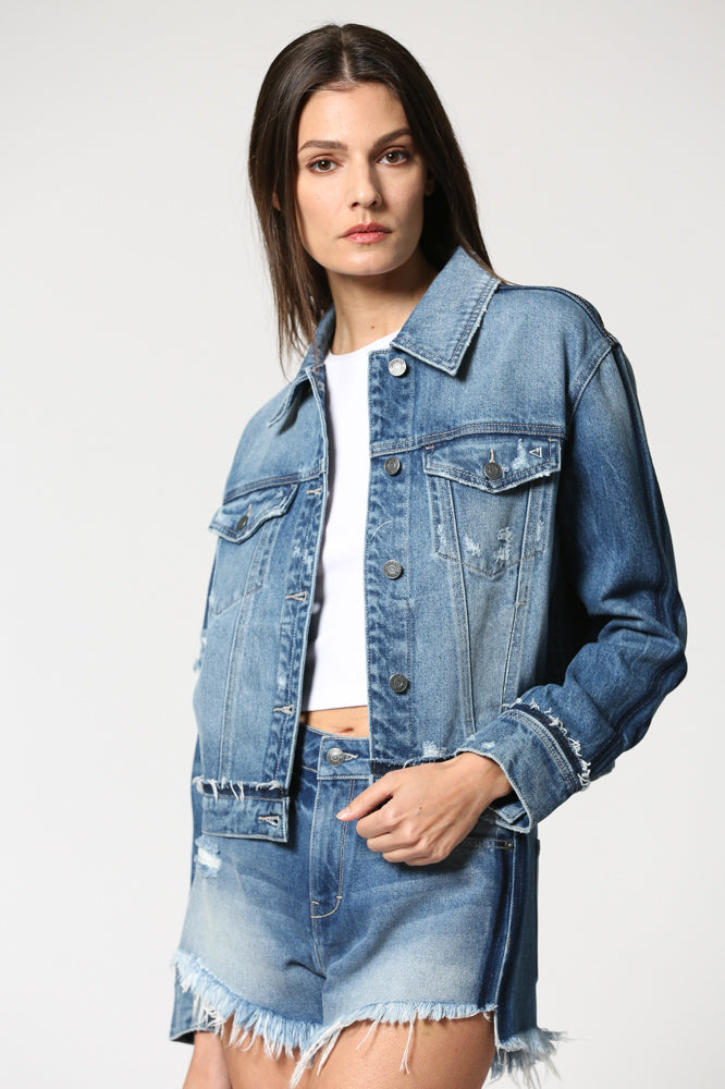 REBEL <p/> Medium Wash Cropped Detail Jacket
