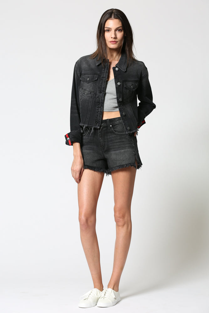 REBEL <p/> Black Cropped Rolled Racer Jacket