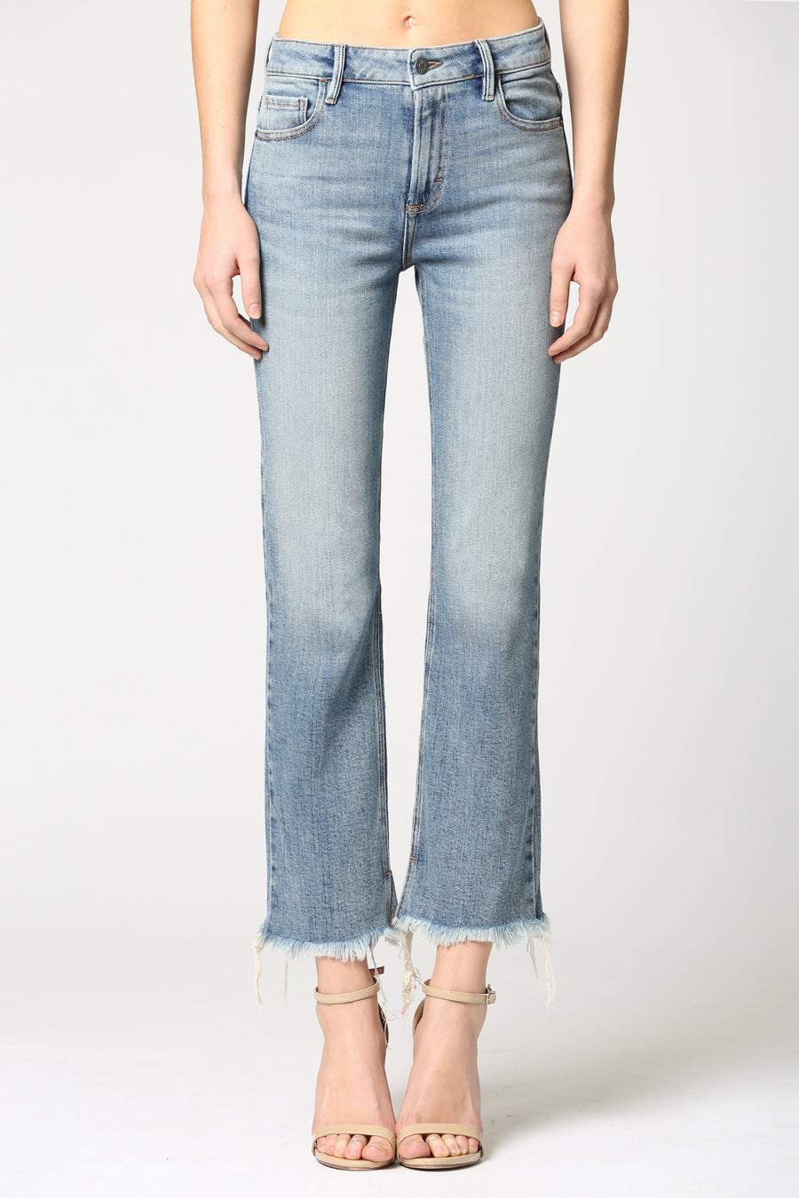 HAPPI<p/> MEDIUM WASH CLASSIC STRETCH CROPPED FLARE