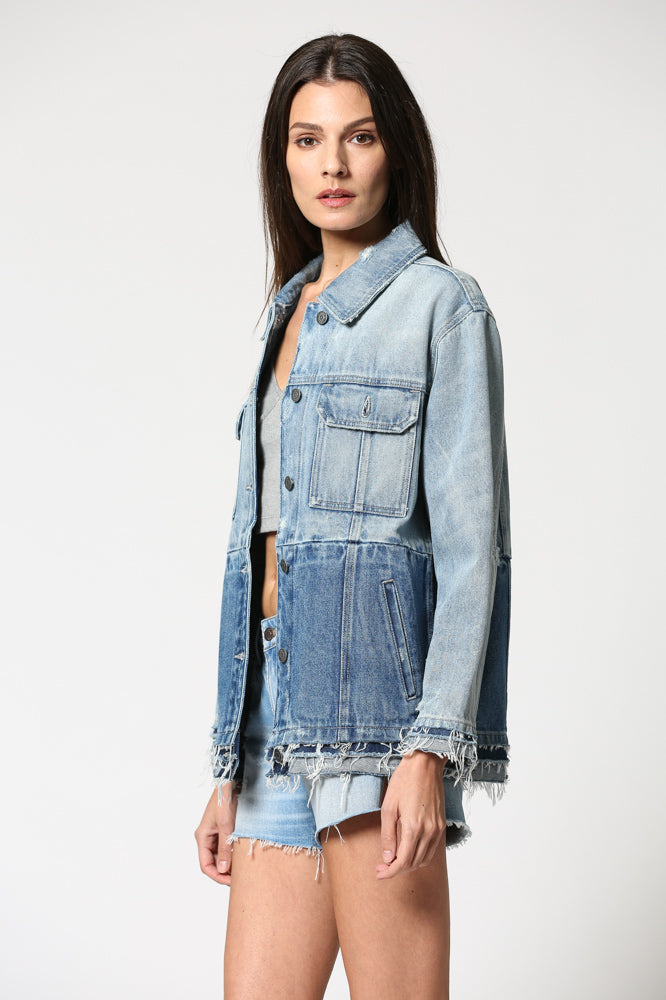 REBEL <p/> Light Wash Oversized Double Denim Jacket