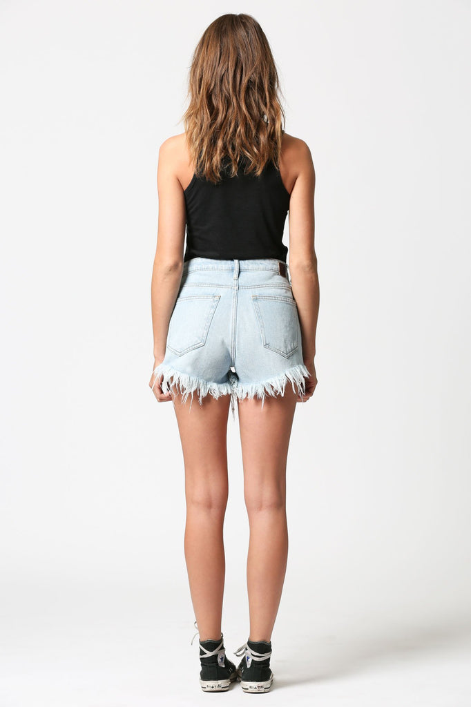 FINN <p/> High Rise Light Wash Shorts with Frayed Hems
