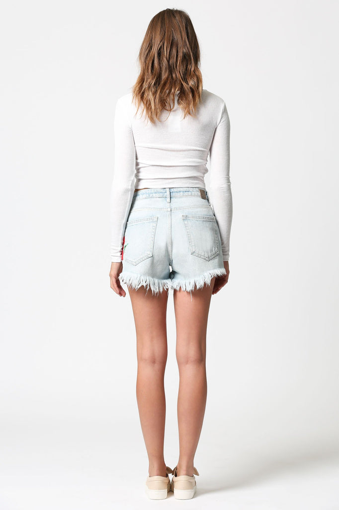 FINN <p/> High Rise Short with Rose Embroidery