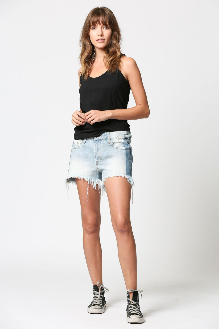 RILEY <p/> Two Tone Slouch Boyfriend Shorts