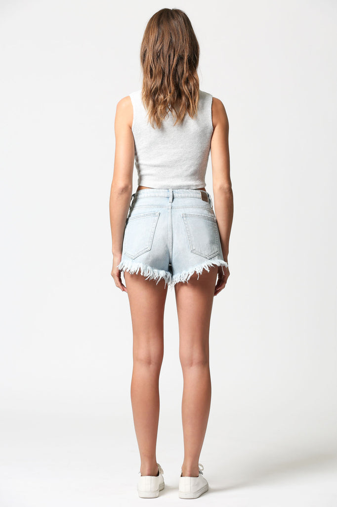 FINN <p/> Light Wash High Rise Shorts with Uneven Hem