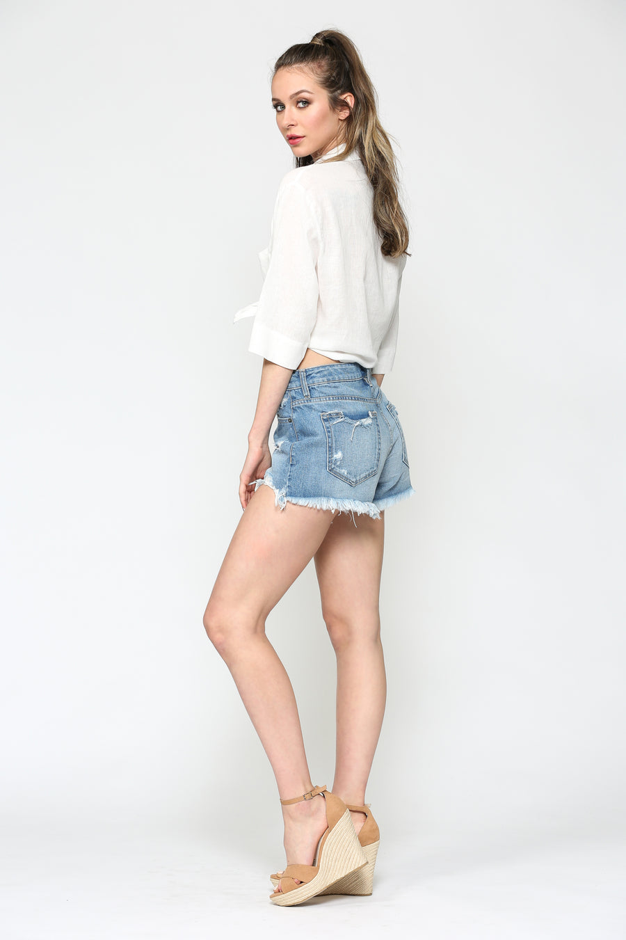 SOFIE <p/> MEDIUM WASH HIGH WAIST SHORTS