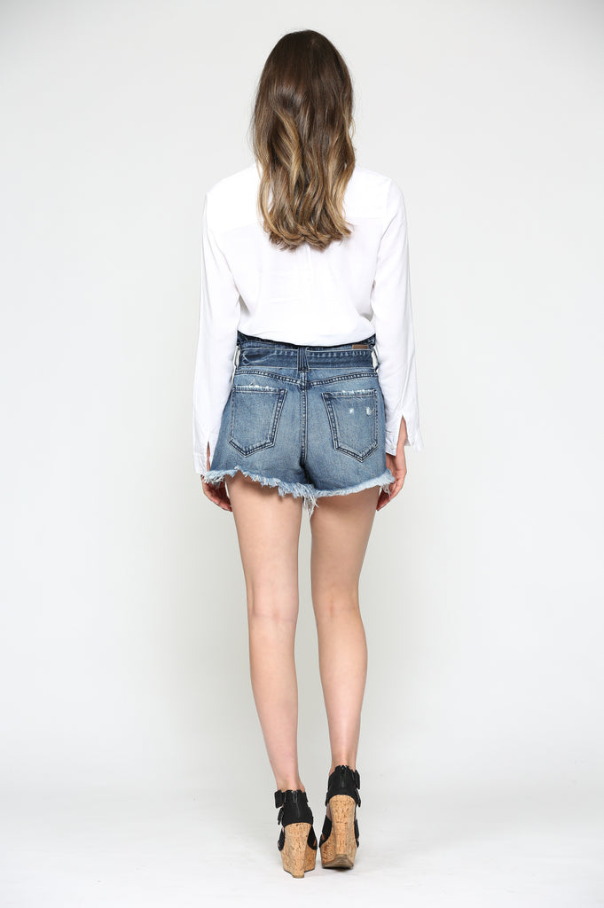 SOFIE <p/> MEDIUM WASH PAPERBAG SHORTS