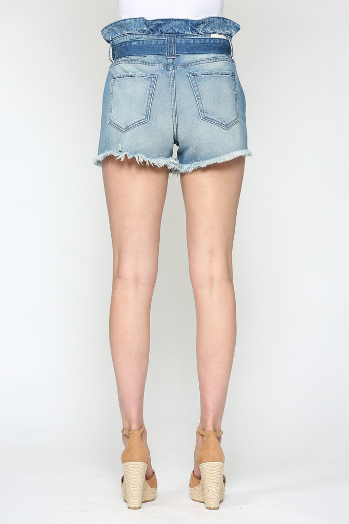 SOFIE <p/> LIGHT WASH PAPERBAG SHORTS