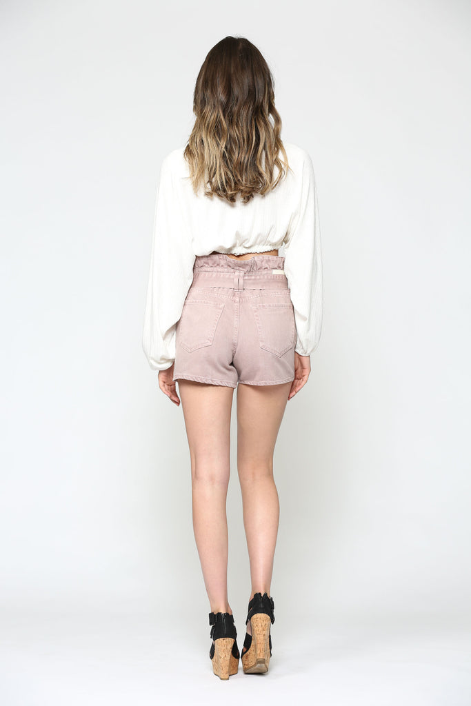 SOFIE <p/> DUSTY ROSE PAPERBAG SHORTS