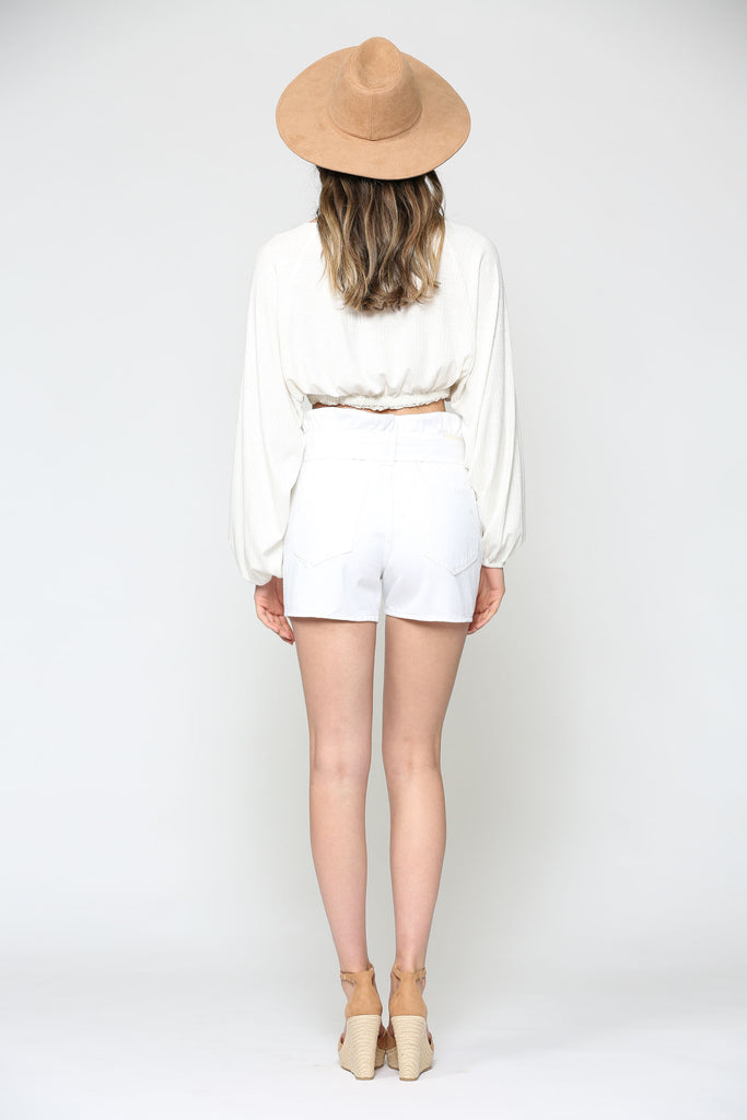 SOFIE <p/> WHITE PAPERBAG SHORTS