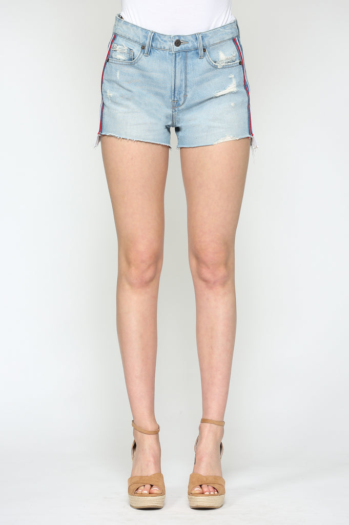 SOFIE <p/> LIGHT WASH SHORTS WITH PIPING
