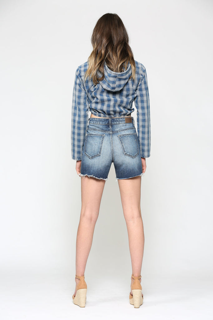 SOFIE <p/> UNEVEN WAISTBAND HIGH WAISTED SHORTS