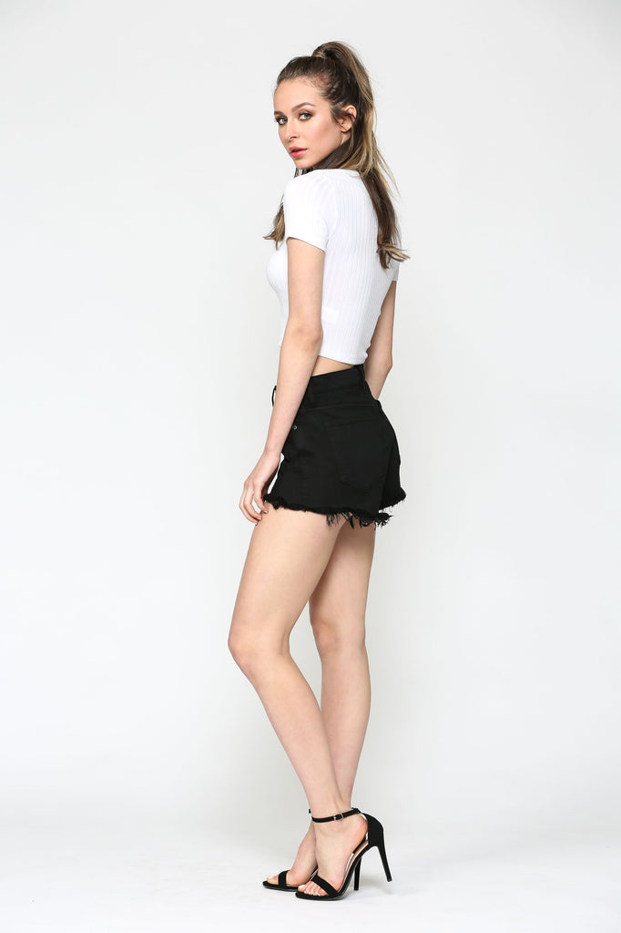 SOFIE <p/> BLACK FOUR BUTTON MOM SHORTS
