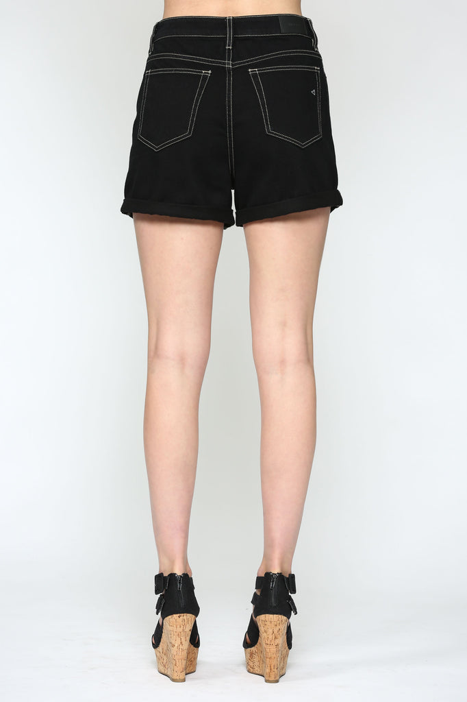 SOFIE <p/> BLACK HIGH RISE CUFFED MOM SHORT