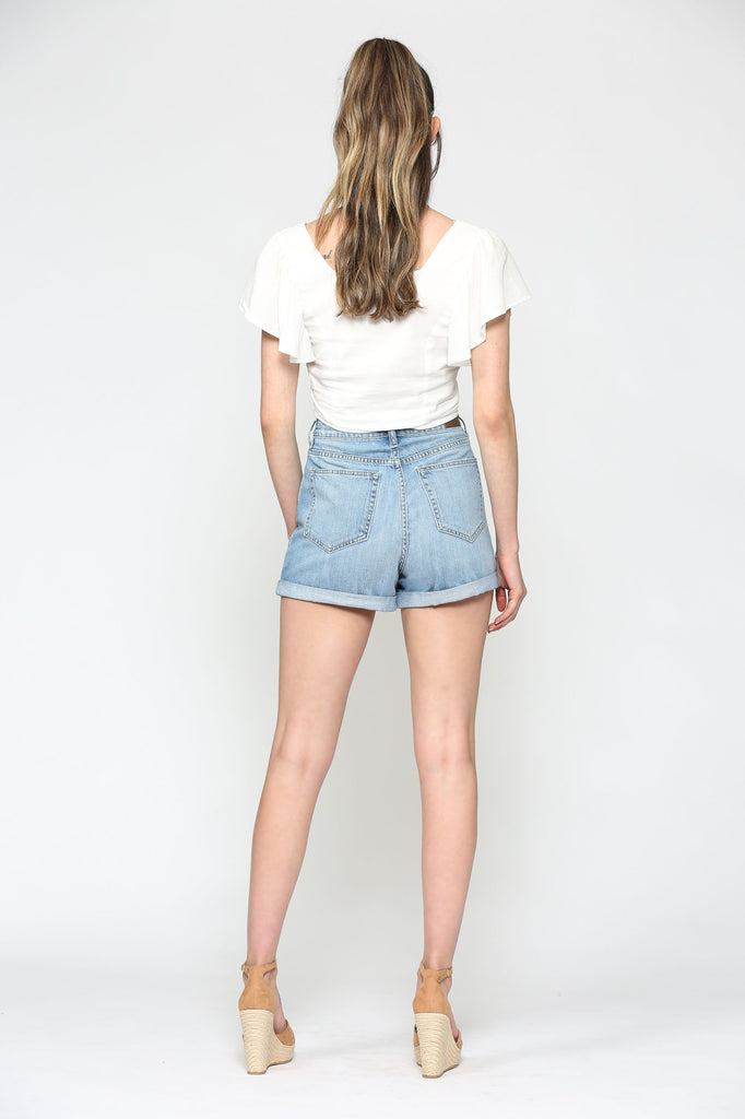 SOFIE <p/> LIGHT WASH HIGH RISE CUFFED MOM SHORT
