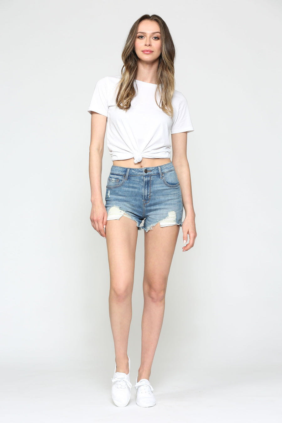 SOFIE <p/> MEDIUM DISTRESSED MOM SHORTS