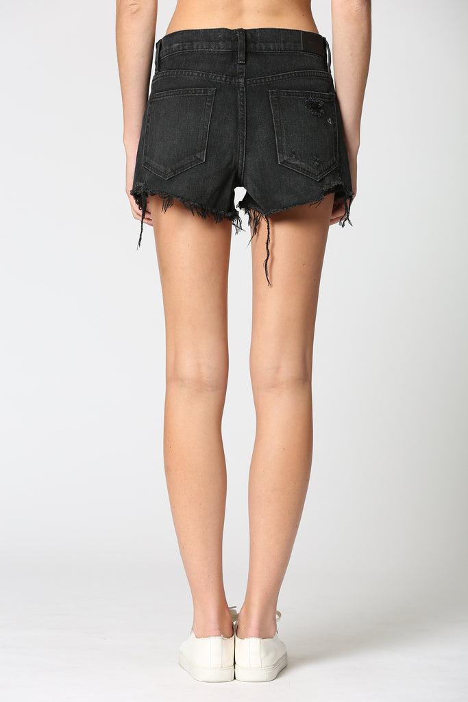 FINN <p/> BLACK DISTRESSED FRAYED STRETCH SHORTS