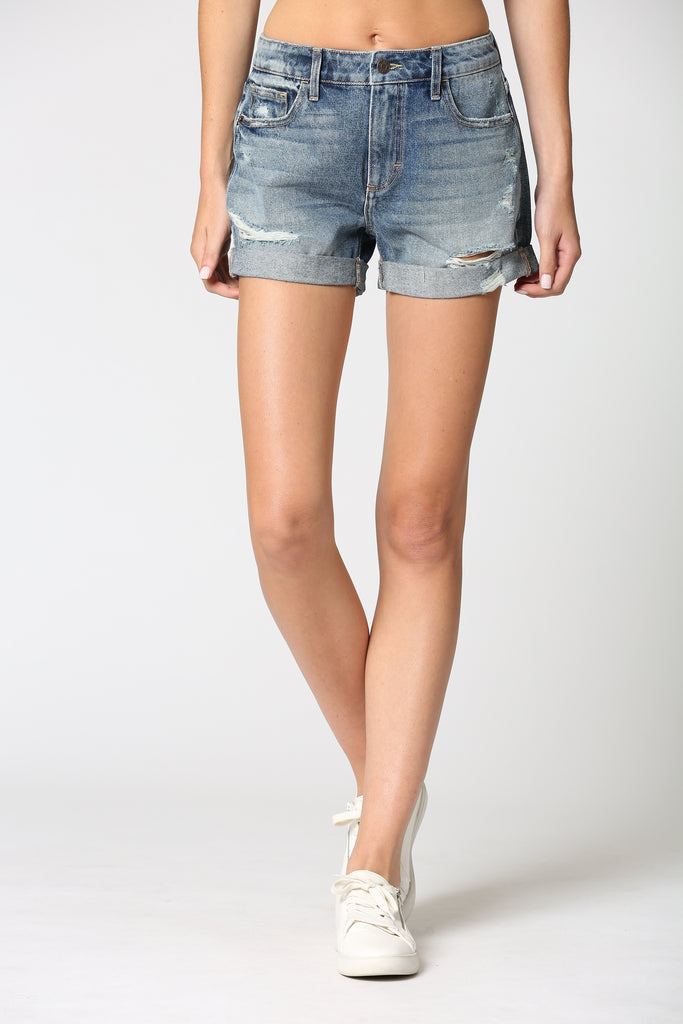RILEY <p/> Medium Wash Cuffed Boyfriend Shorts