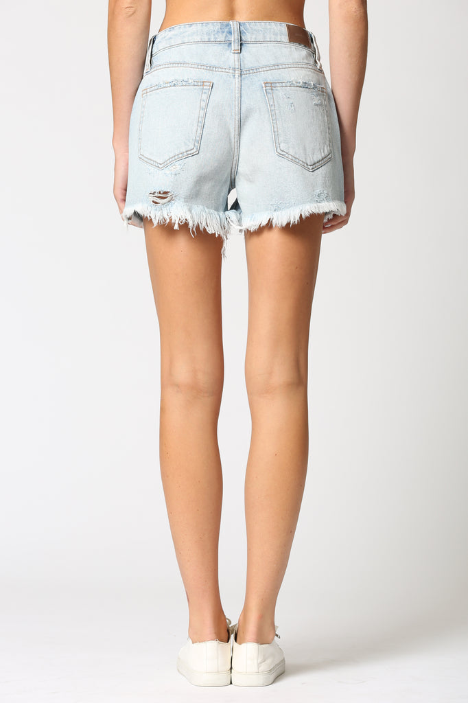 SOFIE <p/> LIGHT WASH DISTRESSED HIGH RISE SHORTS
