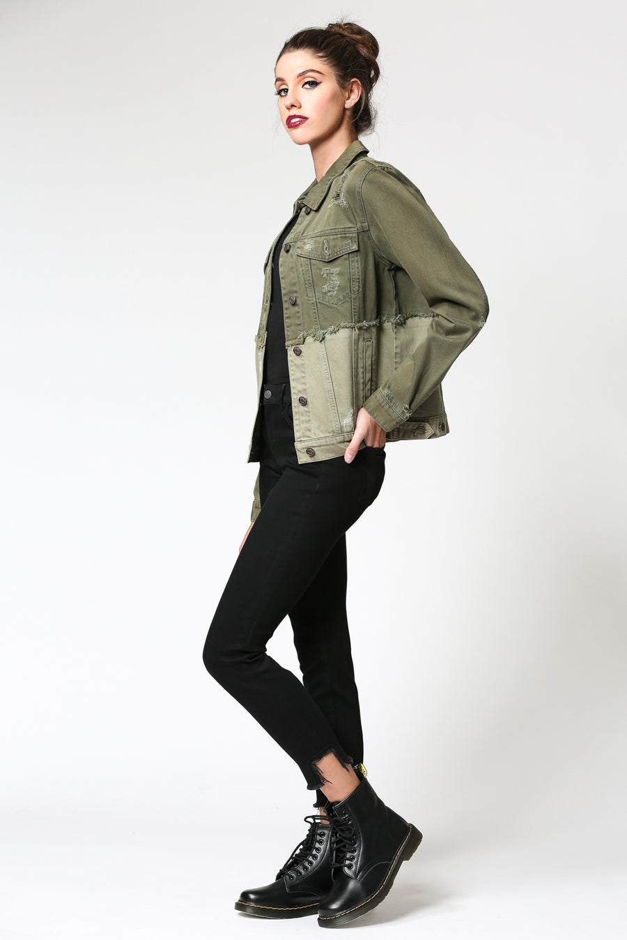 REBEL <p/> TWO TONE OLIVE DENIM JACKET