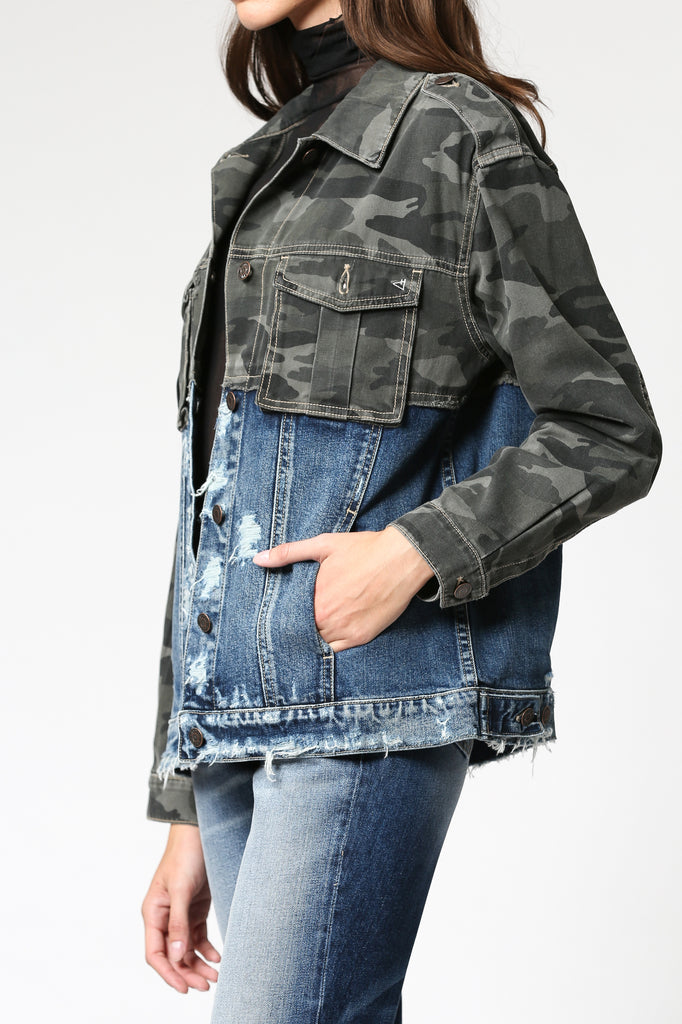 REBEL <p/> CAMO MIXED OVERSIZED DENIM JACKET