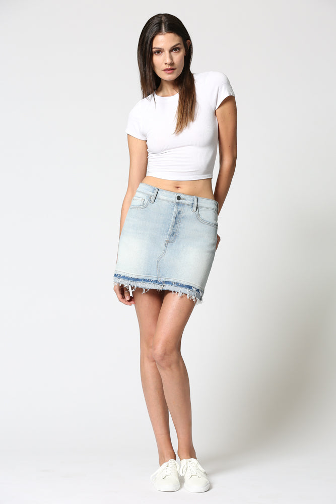 PEYTON <p/> Super Light Wash Reworked Hem Mini Skirt