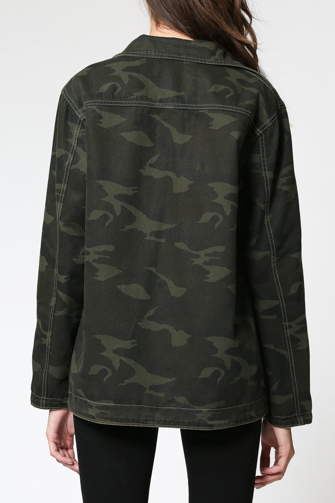 REBEL <p/> OLIVE GREEN CAMO REVERSIBLE JACKET