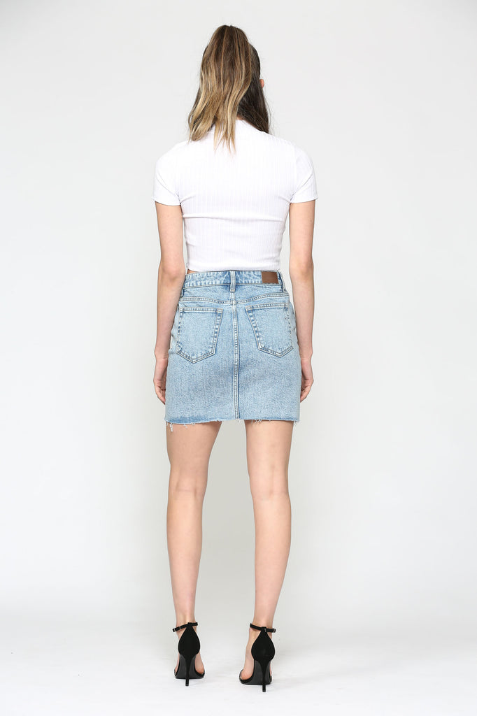 PEYTON <p/> LIGHT WASH FOUR BUTTON MINI SKIRT