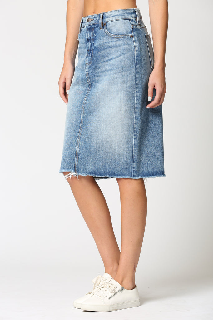 "PEYTON <p/> LIGHT WASH 24"" LENGTH CLASSIC SKIRT"