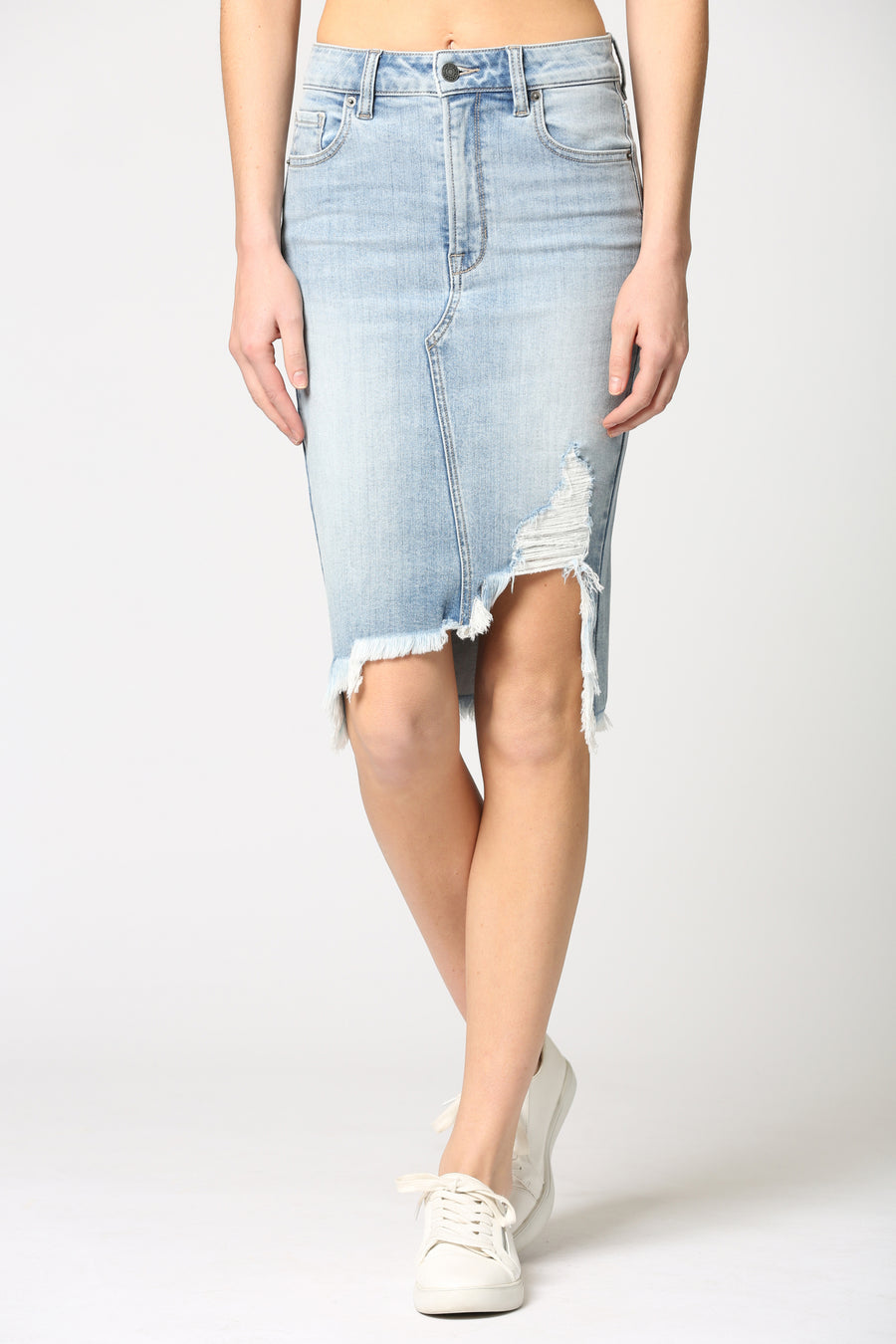 PEYTON <p/> LIGHT WASH FRONT DISTRESSED SKIRT