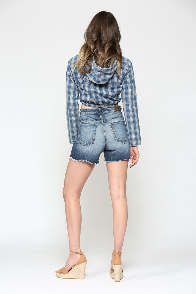 REBEL <p/> PLAID CROPPED HOODIE