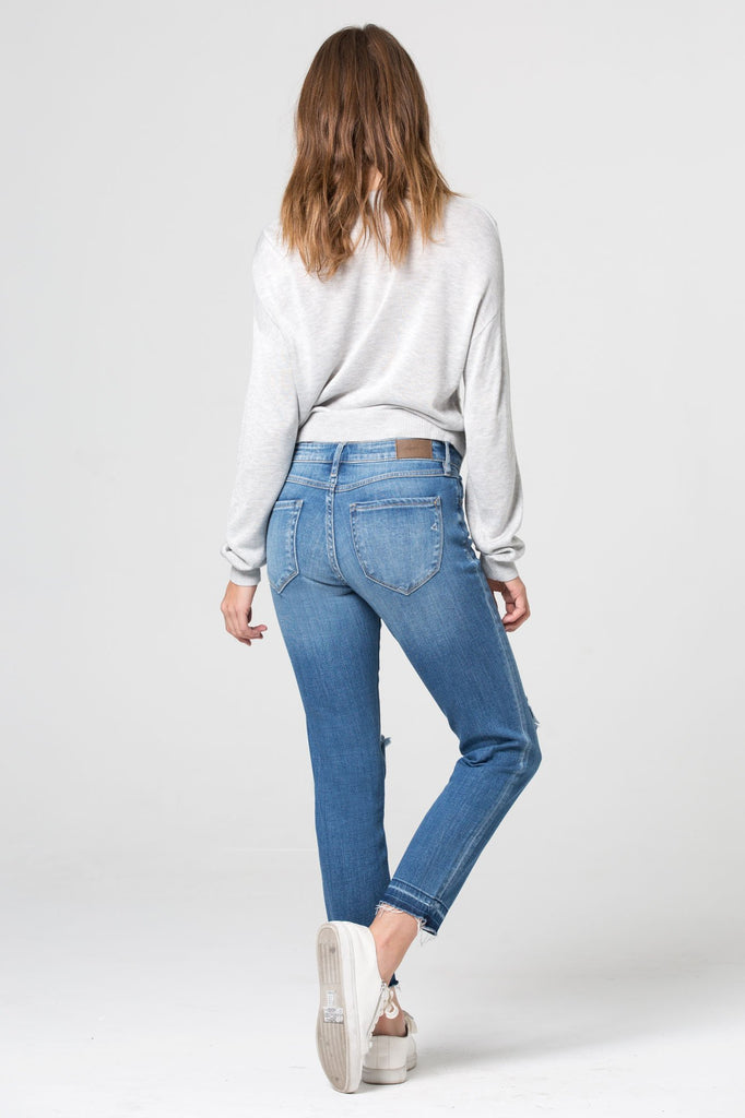 AMELIA <p/> Medium Wash Released Hem Knee Distressed Skinny