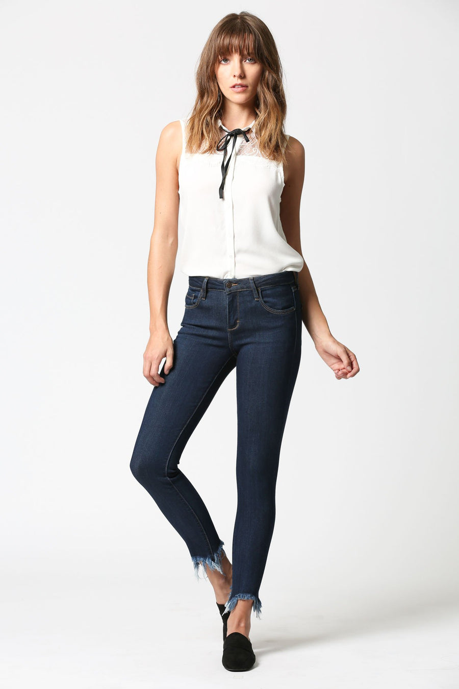 AMELIA <p/> Clean Dark Wash Skinny with Frayed Hems