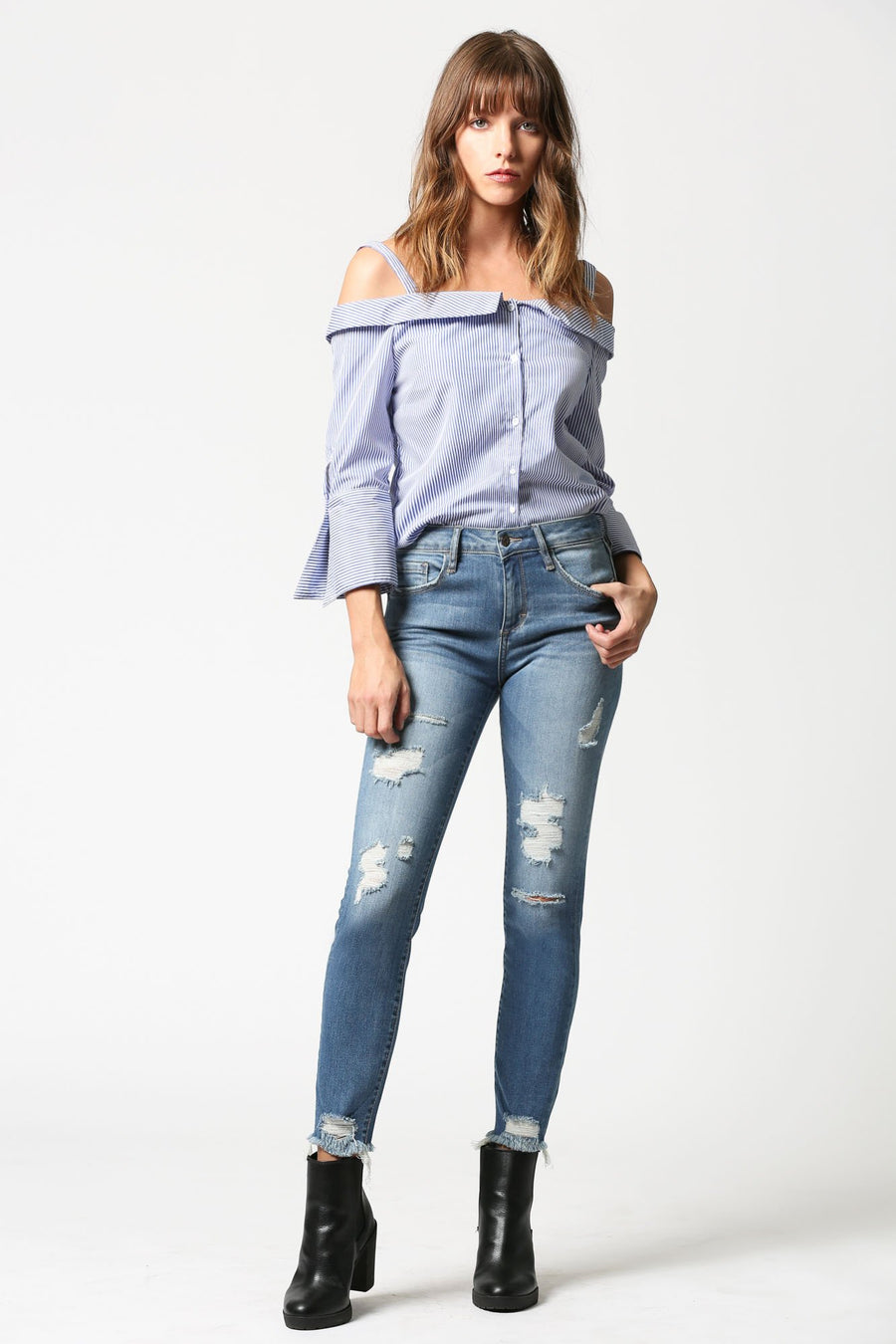AMELIA <p/> Medium Wash Distressed Skinny with Uneven Hems