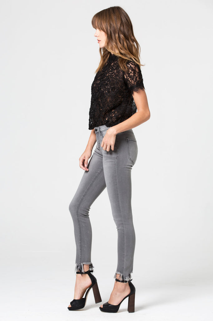 AMELIA <p/> Light Wash Grey Skinny with Frayed Hems