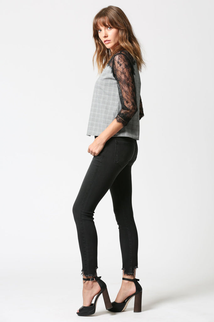 AMELIA <p/> Uneven Fray Hem Dark Grey Ankle Skinny