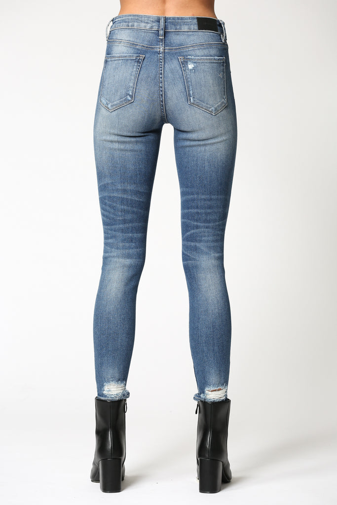 AMELIA <p/> DARK WASH SKINNY WITH UNEVEN WAISTBAND