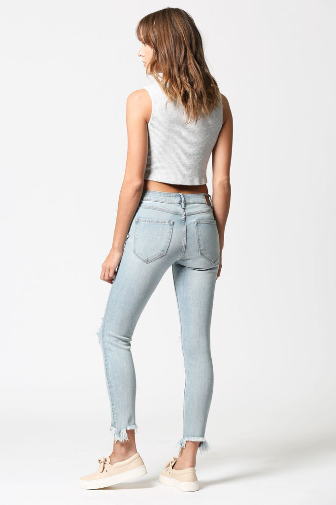 AMELIA <p/> Light Wash Distressed Skinny with Uneven Hems